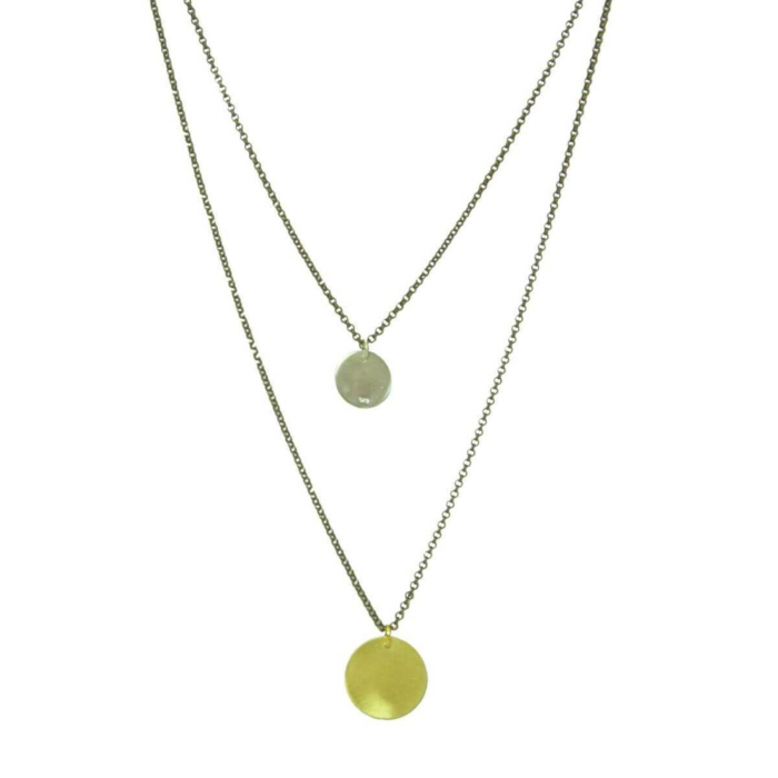 Plated Sterling Silver Double Coin Necklace