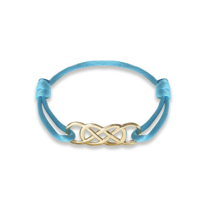 Yellow Gold Infinity Ibiza Bracelet With Turquoise Ribbon | INFINITY by Victoria