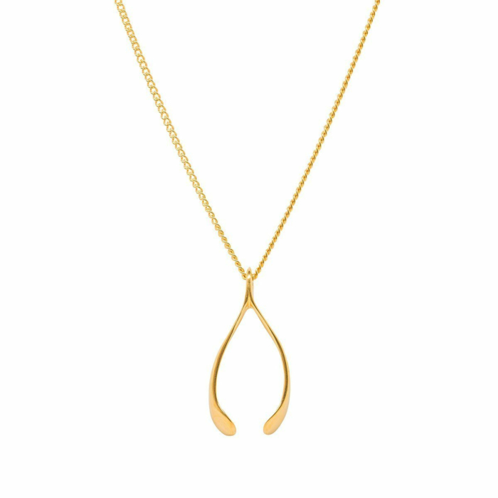 Small Gold Plated Wishbone Charm
