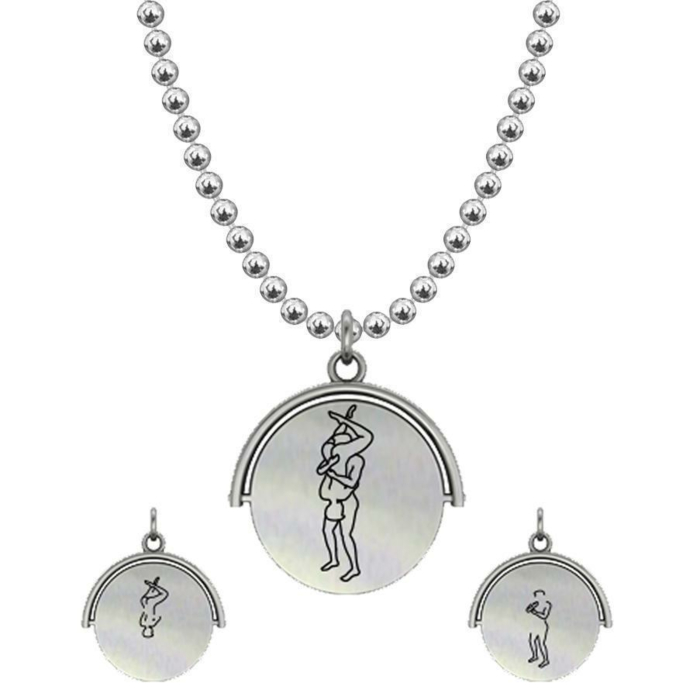 Allumersutra 13MM Silver Pendant Necklace - Boy And Boy - The 69