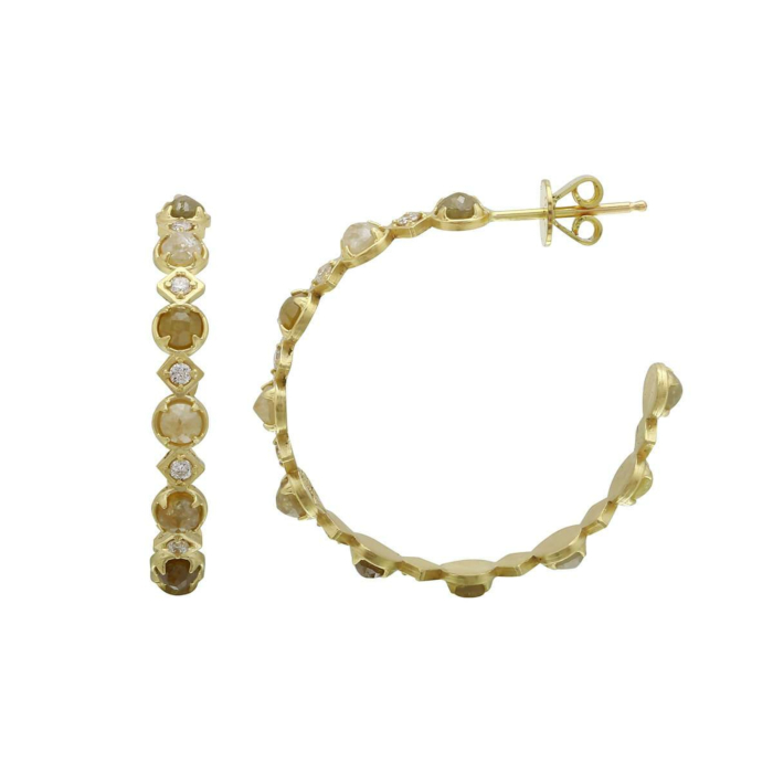 18kt Yellow Gold Natural Colour & White Rose-Cut Diamond Hoop Earrings
