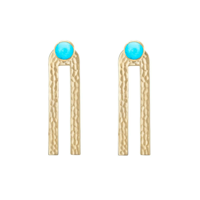 Yellow Gold Plated Poppy Linear Earrings With Turquoise