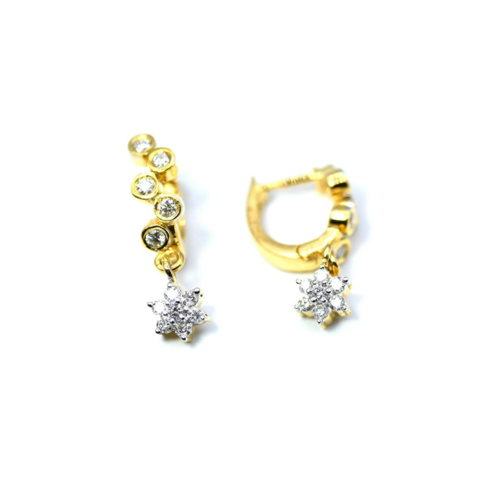 18kt Yellow Gold Snaky Diamond Hoops With Diamond Drops