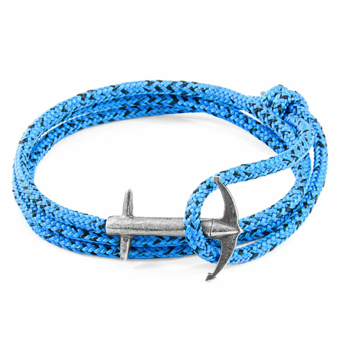 Blue Noir Admiral Anchor Silver and Rope Bracelet