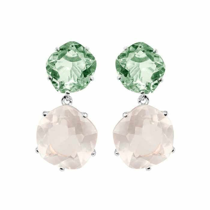 Rhodium Plated Silver Green Amethyst & Rose Quartz Drop Earrings