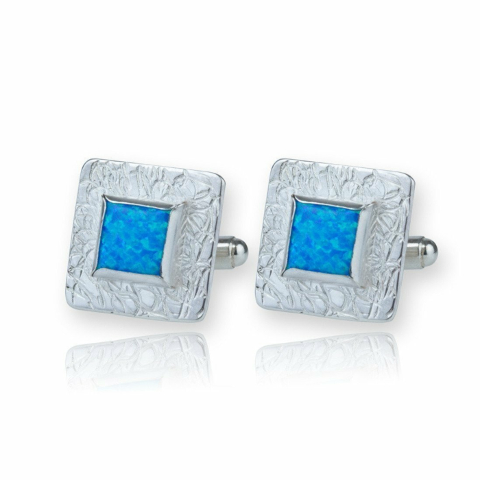 Sterling Silver Etched Blue Opal Cufflinks