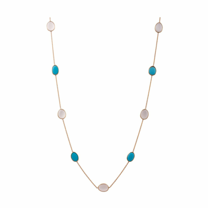 18kt Yellow Gold Turquoise & Milky Moonstone Unshaped Necklace