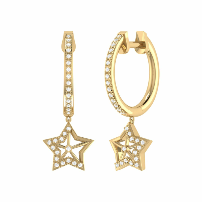 14kt Yellow Gold Plated Lucky Star Hoop Earrings