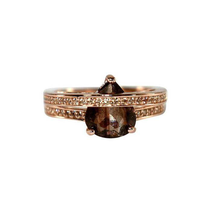 Rose Gold Plated Wrap Ring With Black Glass Stone