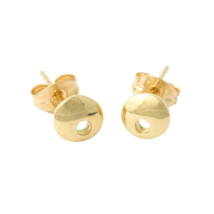 18kt Yellow Gold Moon Small Studs With Hole