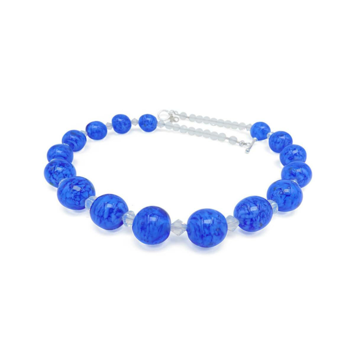 Murano Glass Bead Blue Skyglow Necklace