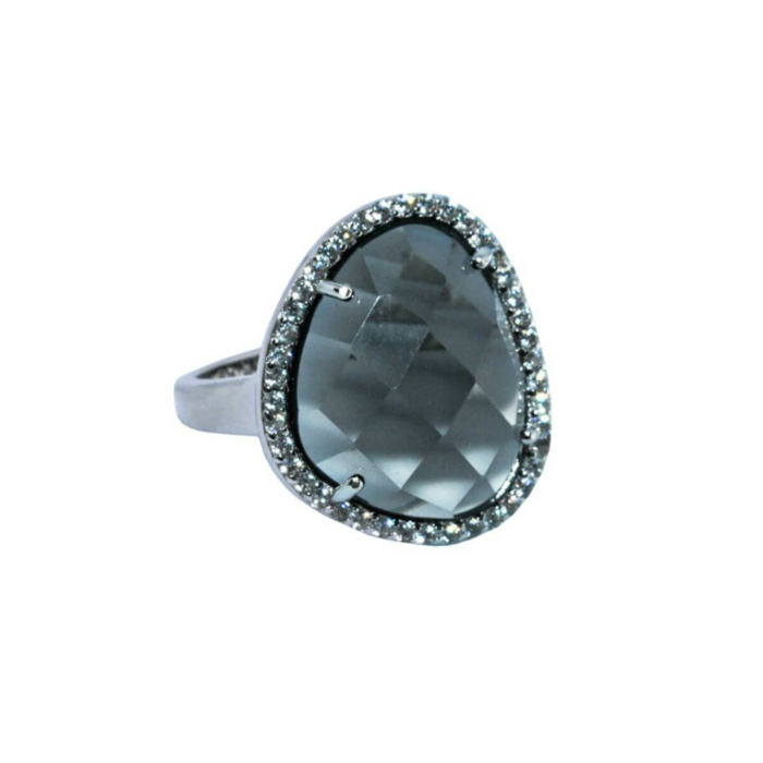Rhodium Plated Abstract Halo Cocktail Ring With Grey Glass Stone