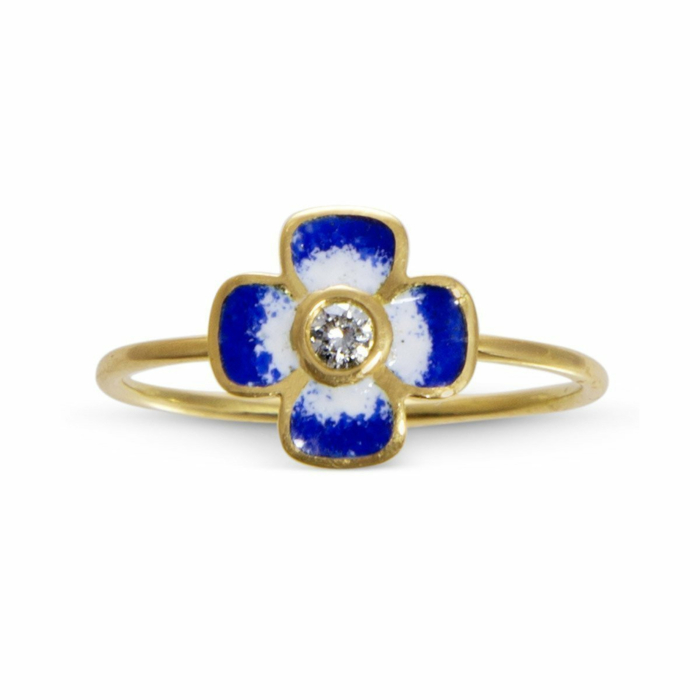 Anthea Diamond and Enamel Blue Flower Ring