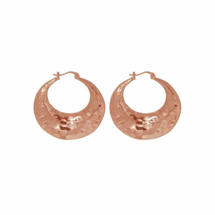 Rose Gold Organic Hoop Earrings
