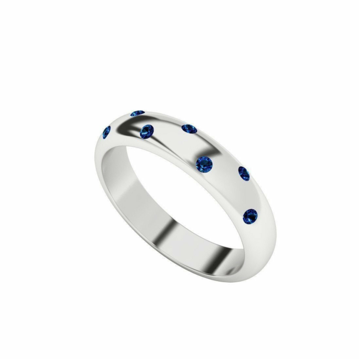 Blue Sapphire 9kt White Gold Domed Ring