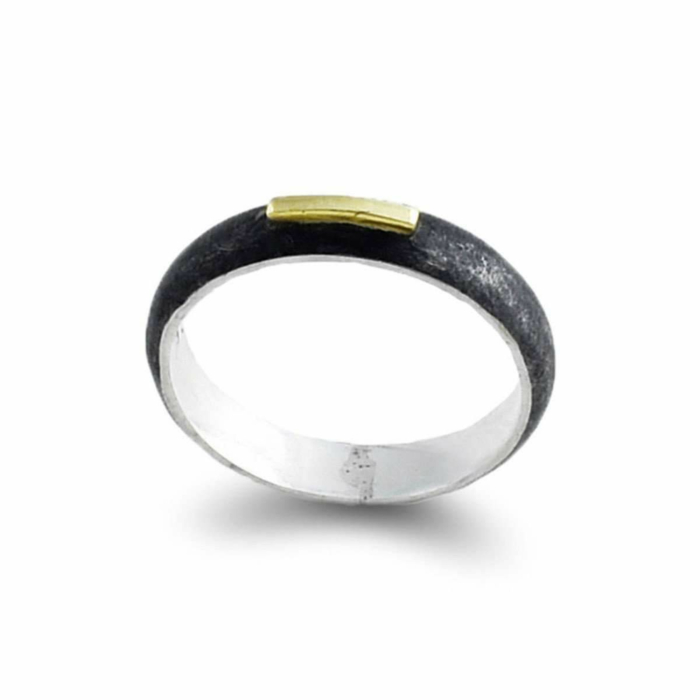 Patinated Sterling Silver And Gold Ring