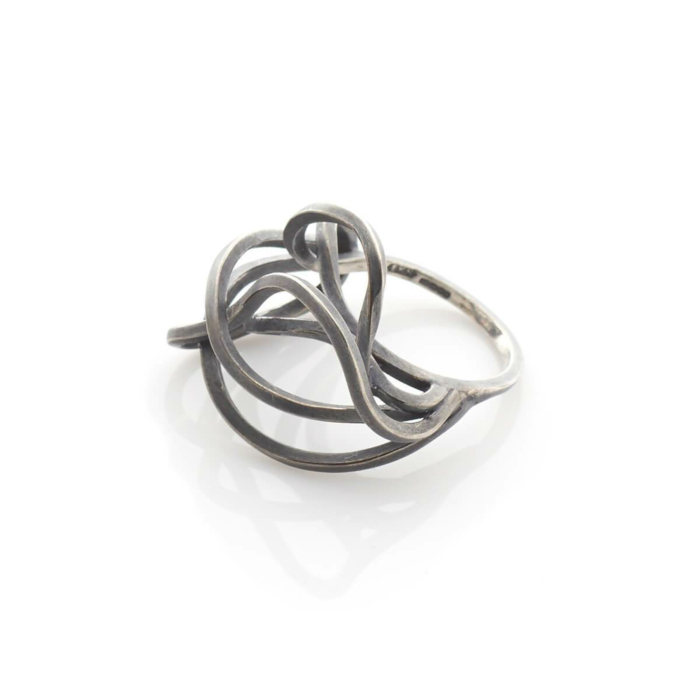 Oxidised Sterling Silver Large Tangled Ring