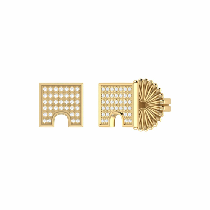 14kt Yellow Gold Plated City Arches Stud Earrings