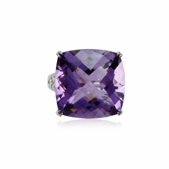Fire and Ice Cushion Amethyst Ring