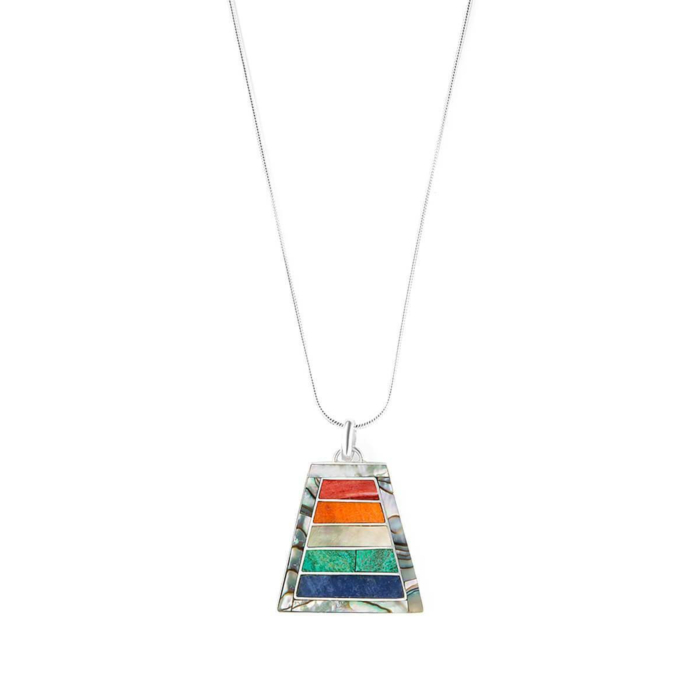 Sterling Silver Mosaic Rainbow Pendant Necklace