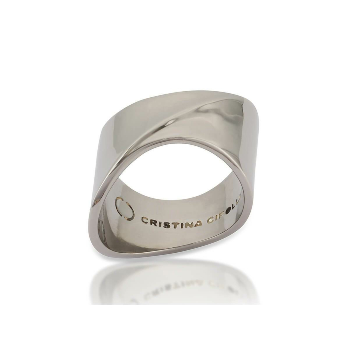 Black Rhodium Plated Solid Polished Sharch Ring