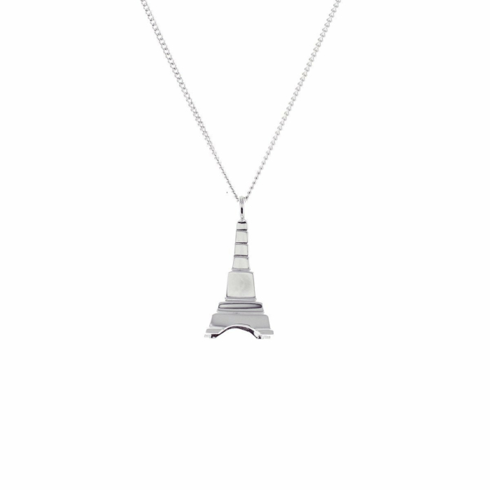Sterling Silver Mini Eiffel Tower Origami Necklace
