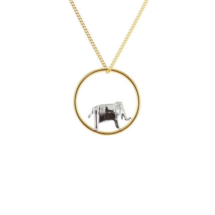 Gold & Sterling Silver Elephant Circle Origami Necklace