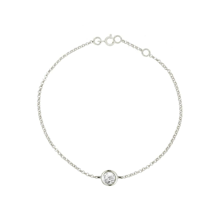 9kt White Gold Solitaire Diamond Raindrop Bracelet