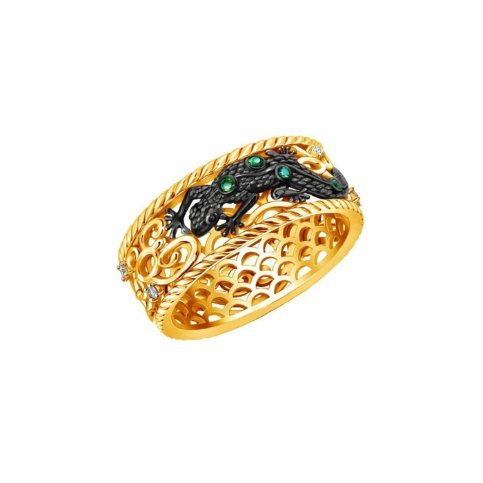 Gold & Emerald Earth Element Lizard Ring | Chekotin Jewellery
