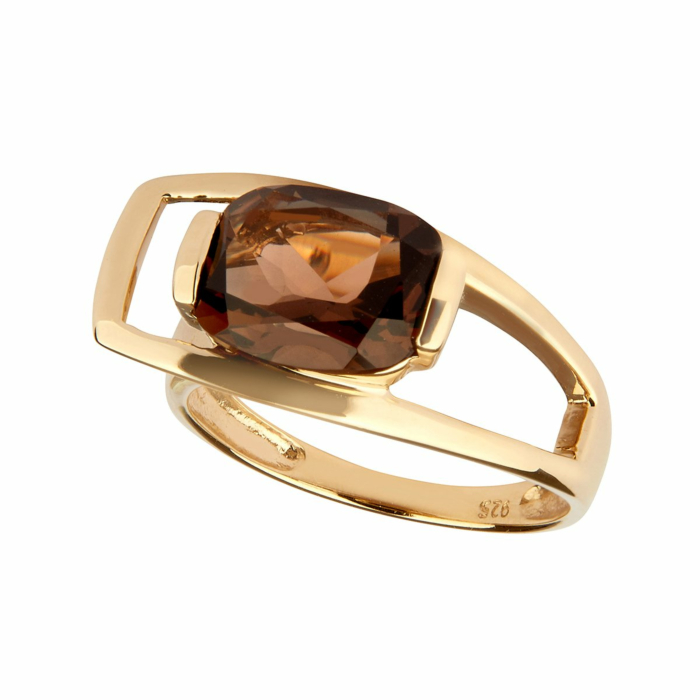 14kt Yellow Gold Plated Sterling Silver Smoky Quartz Charming Ring