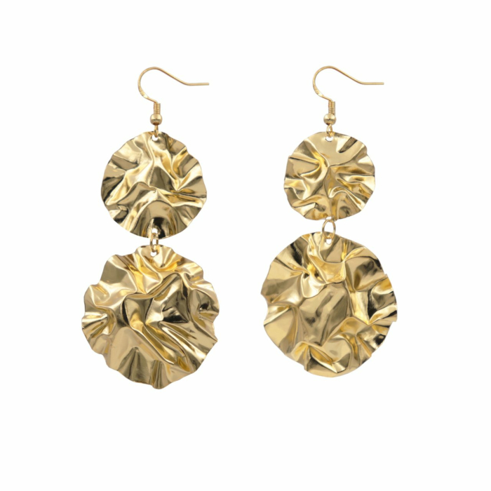 Gold/Silver Large Double Disc Fold Earrings