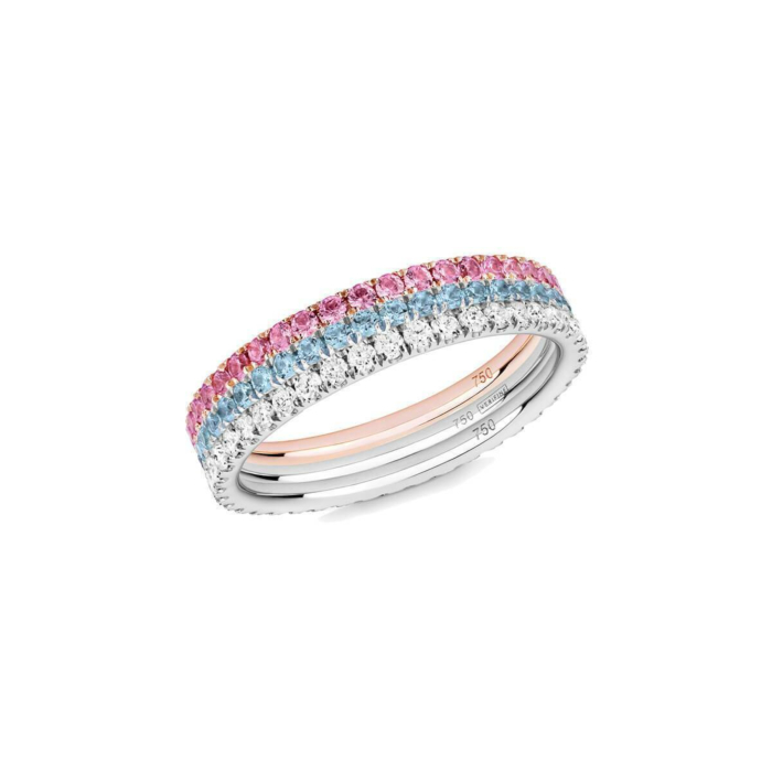 18kt White Gold Princess 3-Ring Combination