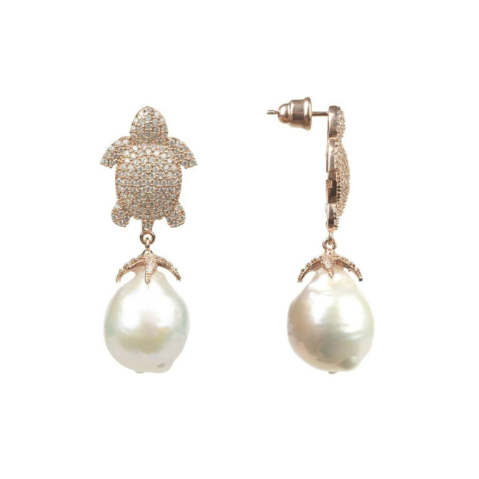 Rose Gold Plated Silver White Turtle Baroque Drop Earrings