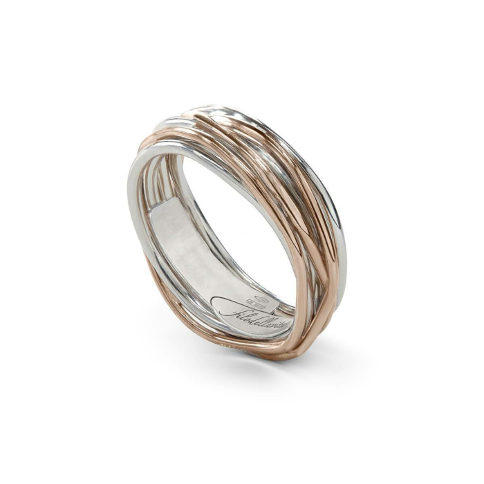 9kt Rose Gold & Silver Classic Oro Rosa Argento 7 Ring