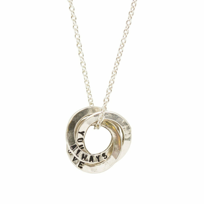 Personalised Mini Satin Hammered Russian Ring Necklace Sterling Silver