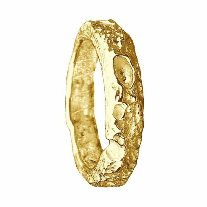 Cornish Beach Sand Textured 14kt Yellow Gold Wedding Ring