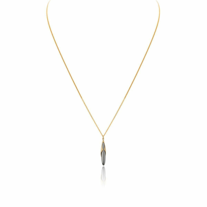18kt Yellow Gold & Black Rhodium Hun Pitou Duel Length Pendant