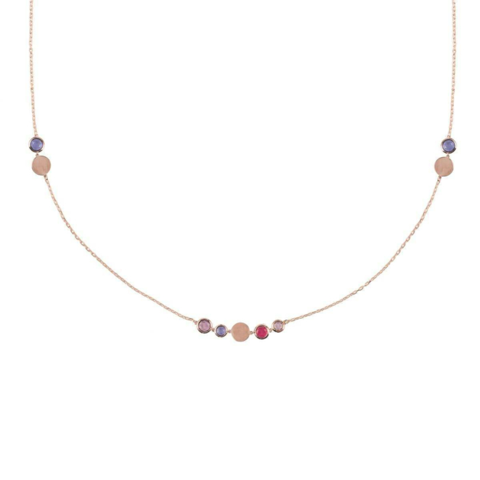 Amalfi Mixed Gemstone Rose Gold Necklace
