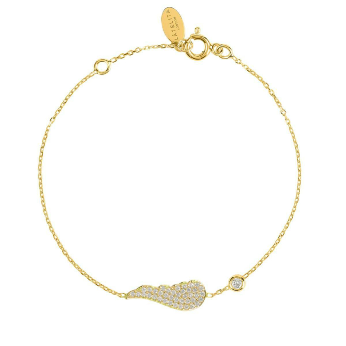 Yellow Gold Plated Small Angel Wing Bracelet