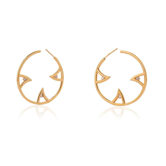 Yellow Gold & White Sapphire Vermeil Sharch Hoop Earrings