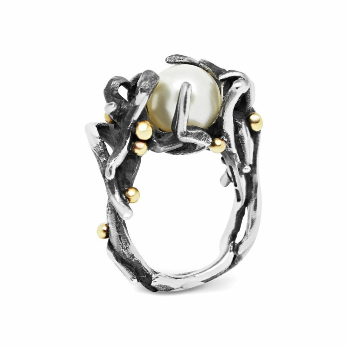 Silver & 9kt Gold Treasure Of The Abyss Ring