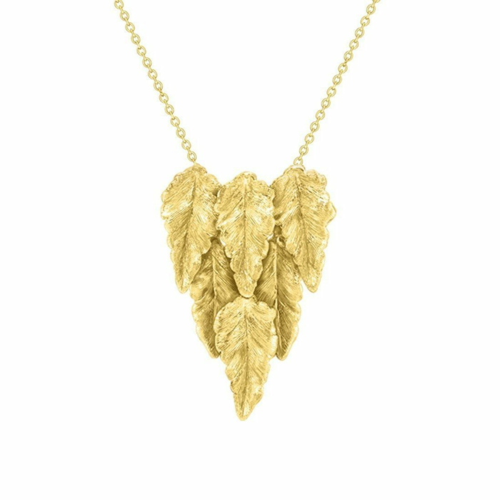 Kew Yellow Gold Layered Leaf Necklace