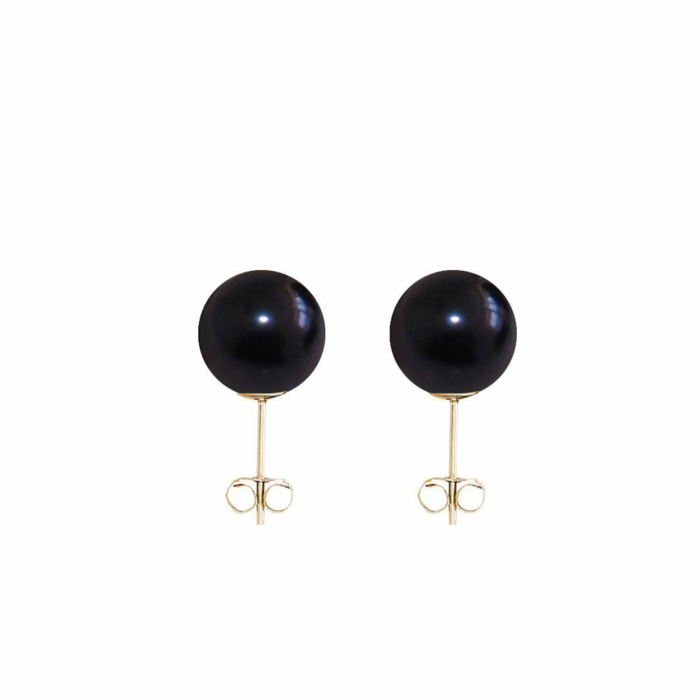 9kt Yellow Gold & Black Freshwater Pearl Classic Stud Earrings