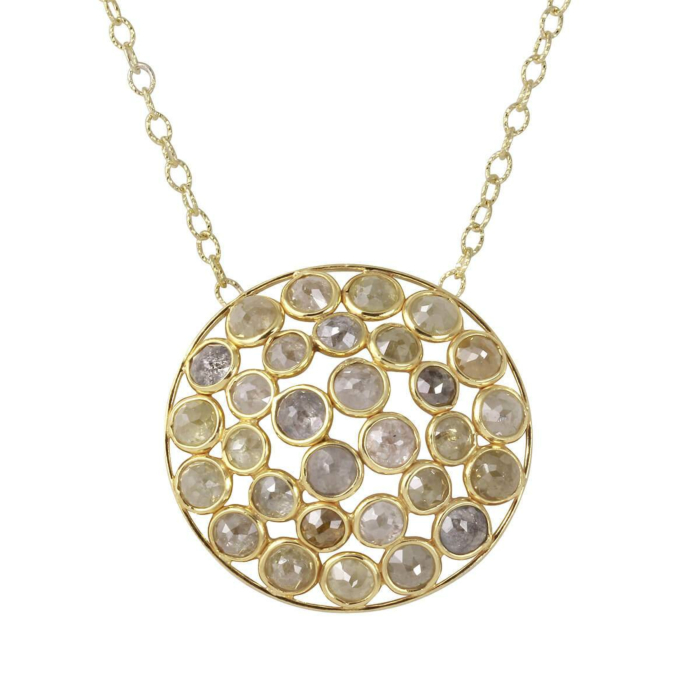18kt Yellow Gold Natural Colour Rose-Cut Diamond Dome Shape Necklace