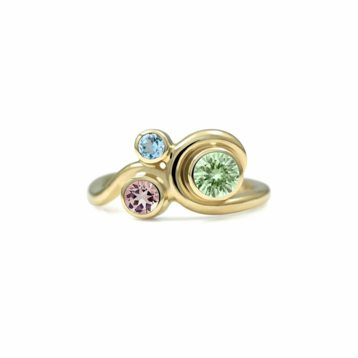 Entwine Three Stone Ring In Gold