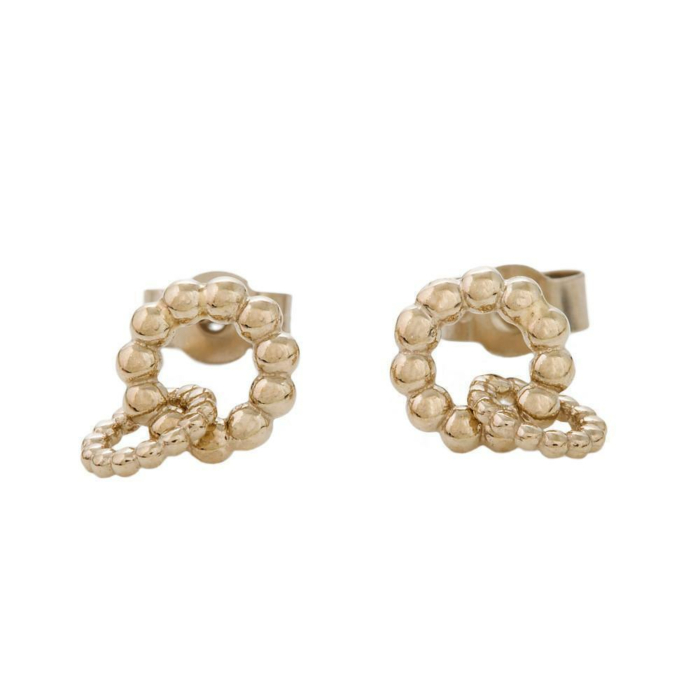 18kt Gold Ball Two circles Stud Earrings