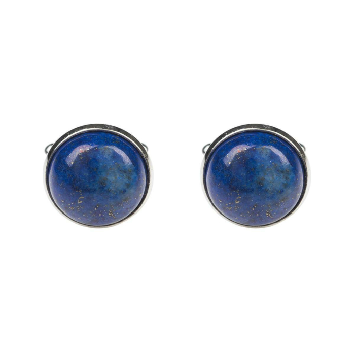 Sterling Silver Plated Round Cabochon Lapis Lazuli Cufflinks