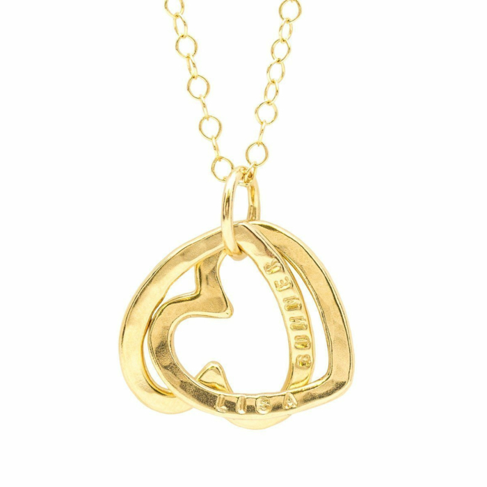 Personalised Interlinking Hearts Necklace Yellow Gold Plated