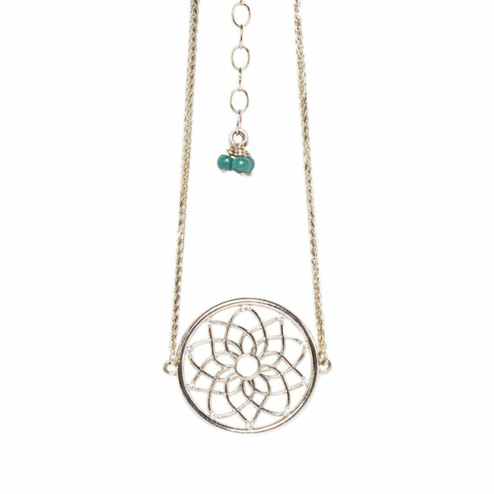 Dream Catcher Bracelet With Diamonds and Turquoise