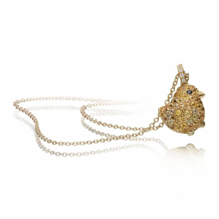 Gold & Sapphire Pet Jewels Collection Chick Necklace | Pinomanna